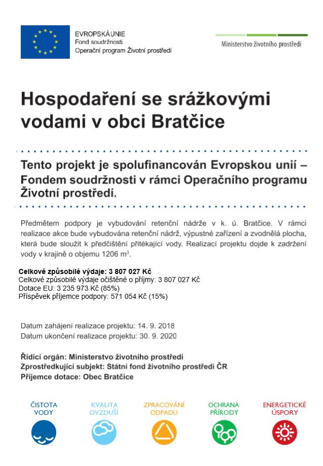 Financování Hospodaření se srážkovými vodamiv obci Bratčice