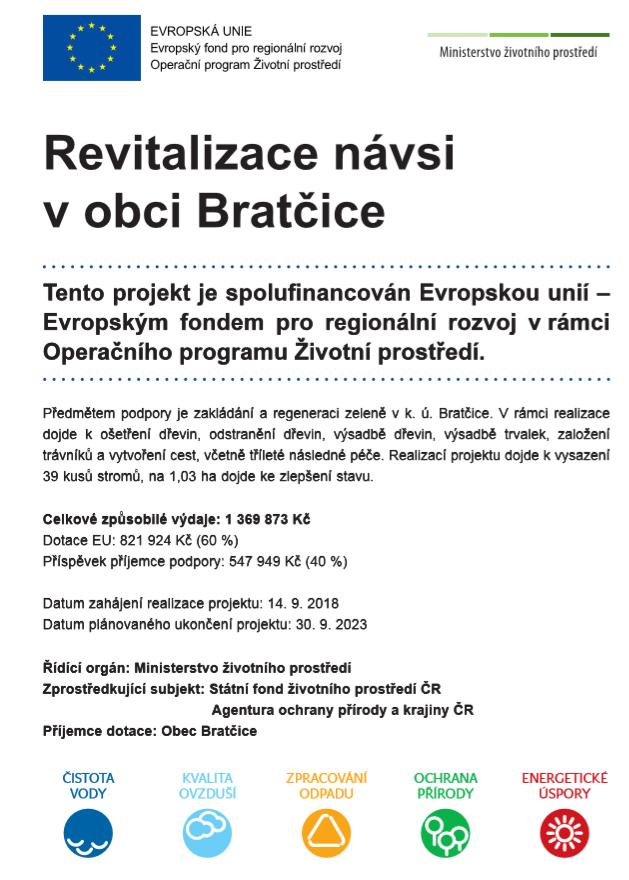 """Financování """"Revitalizace návsi"""" v obci Bratčice"""